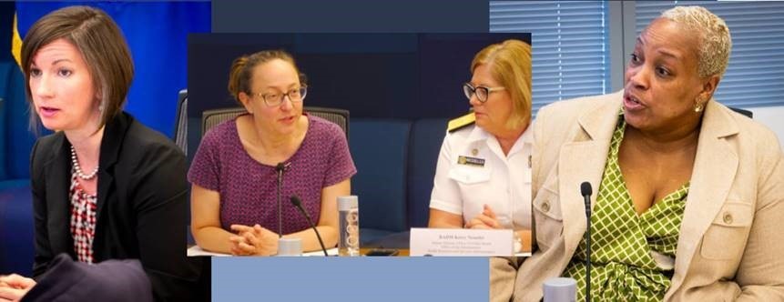 Pictured (from left): Bethany Miller, HRSA, Injury and Violence Prevention Team Lead; Justine Larson, SAMHSA, Senior Medical Advisor; RADM Kerry Nesseler, HRSA, Director of the Office of Global Health; Nicole White, ED, Education Program Specialist